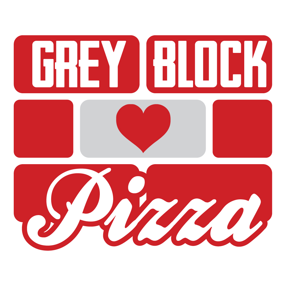 Grey Block Pizza Logo