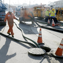 Repair underway at sewage spill, image courtsey of Irfan Khan / Los Angeles Time