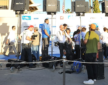 "Cameras on the ""blue"" carpet at our annual Bring Back the Beach Gala."