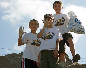 Scouts at a beach cleanup