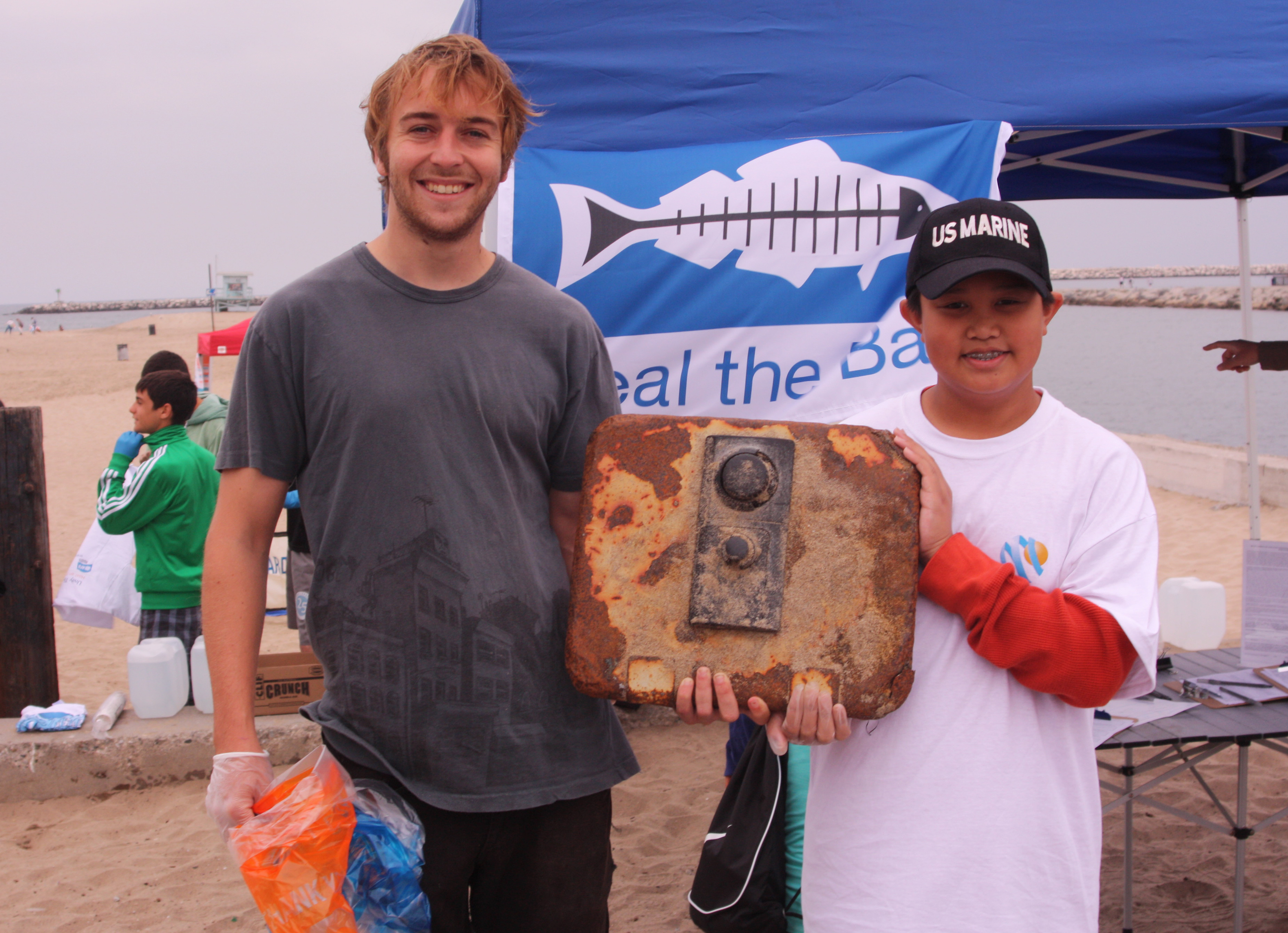 Volunteers at Playa found a safe door at the beach cleanup