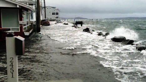 King Tides in California beach ocean waves in Malibu