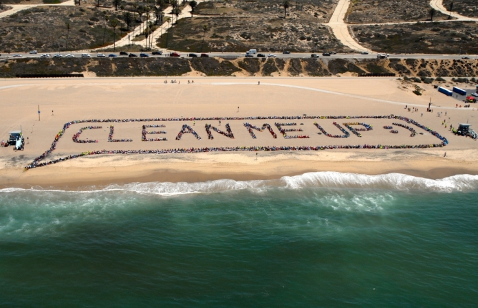 Kids Ocean Day Clean Me Up Aerial Photo