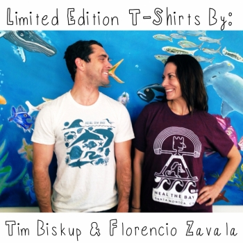 Limited Edition T-Shirts Designed by local artists Tim Biskup and Florencio Zavala