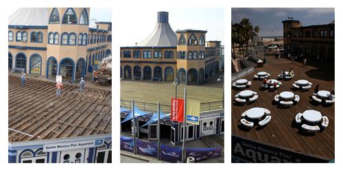 Santa Monica Pier Aquarium Roof Construction Triptych