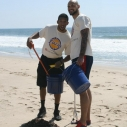 Los Angeles Lakers Darius Morris Robert Sacre Dockweiler cleanup beach