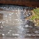 Raining on sidewalk
