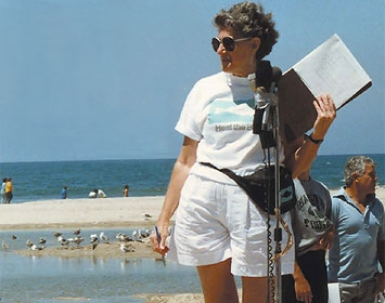Dorothy Green leads a rally at the beach