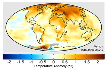 Surface temperature changes, 1999-2008.