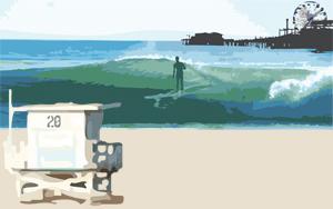 surf surfing santa monica pier nick gabaldon surfer waves beach sand fun